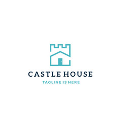 Castle house real estate mortgage logo icon vector