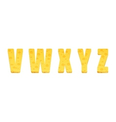 Cheese alphabet set Letters V-Z vector image