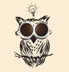 Coffee owl business drawn icon symbol idea vector