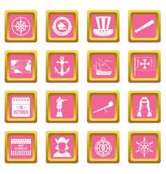 Columbus day icons pink vector