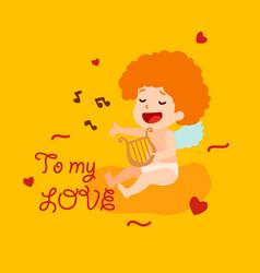 cute cupid angel sings a love song happy vector image