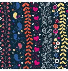 cute hearts birds flowers floral pattern vector image