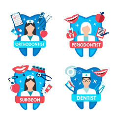 dentistry icon with dentist doctor and tooth vector image