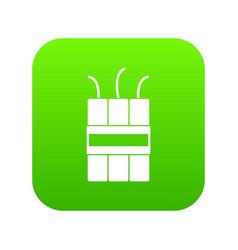 Dynamite explosives icon digital green vector