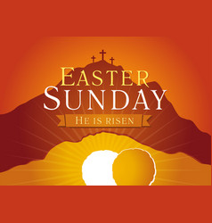 Easter sunday holy week sunrise card vector