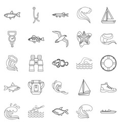 Fishery icons set outline style vector
