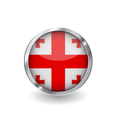 Flag of georgia button with metal frame and vector