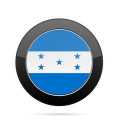 flag of honduras shiny black round button vector image