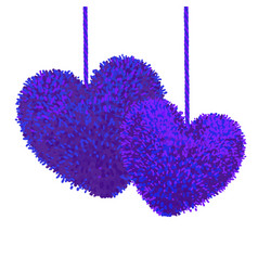 Fluffy pom-poms in shape a heart vector