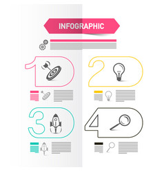 four steps modern web presentation with icons and vector image