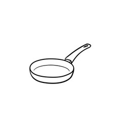 Frying pan hand drawn sketch icon vector