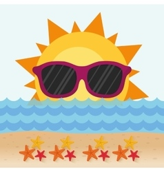 Funny sun with sunglasses stars beach vector