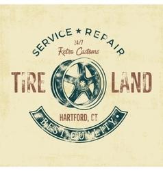Garage service vintage tee design graphics tire vector