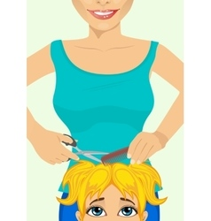 Girl getting haircut at hairdressing salon vector