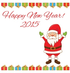 greeting card with cartoon Santa Claus vector image