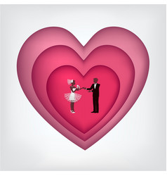 Groom bride and heart in cut paper isolated on vector