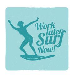 Grunge summer surfing sports logo with girl vector