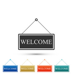 hanging sign with text welcome icon isolated vector image