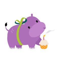 Happy birthday concept adorable hippo baanimal vector