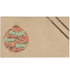 happy new year vintage postcard stylized greeting vector image
