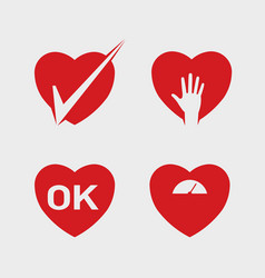 heart abstract icon set vector image