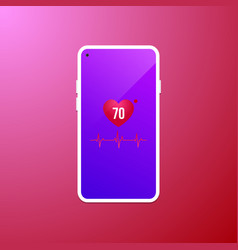 heart rate at mobile screen vector image