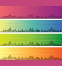 Indore multiple color gradient skyline banner vector