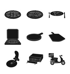 Isolated object of pizza and food icon set of vector