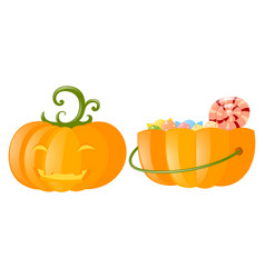 Jack-o-lantern and pumpkin bucket full of candy vector