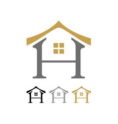 letter h oriental house shape icon symbol design vector image