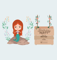 Mermaid with wooden label invitation card vector