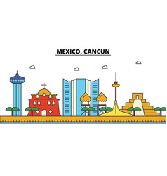 Mexico cancun city skyline architecture vector