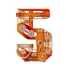 Numeral 5 mechanic alphabet steampunk font vector