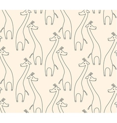One line giraffe seamless pattern vector