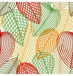 Outline autumnal leaves seamless pattern vector