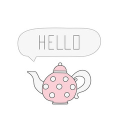 pink teapot with white polka dots cartoon vector image