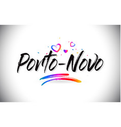 Porto-novo welcome to word text with love hearts vector