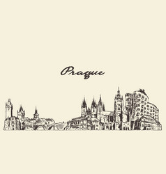 Prague skyline czech republic drawn sketch vector