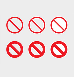 Prohibition icons set not allowed or stop signs vector
