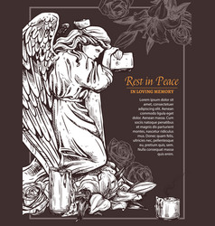 rip massage card vintage stone angel with cross vector image