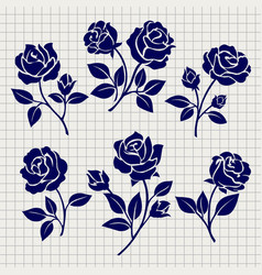 Roses collection on notebook page vector