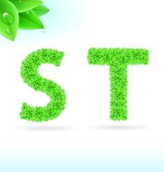 Sans serif font with green leaf decoration vector image