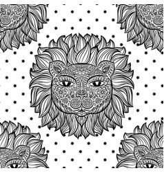 seamless pattern with a lion head and stars on a vector image