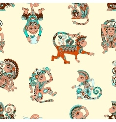 Seamless pattern with decorative monkey animal vector