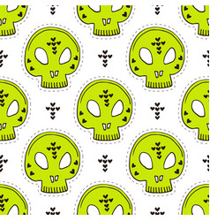 seamless pattern with skulls halloween background vector image
