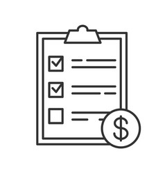 service list with dollar sign linear icon vector image