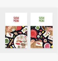 set of menu cover templates with dining table and vector image