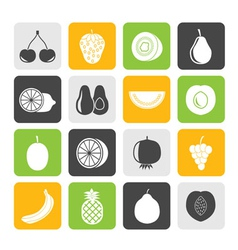 Silhouette Different kind of fruit and icons vector image
