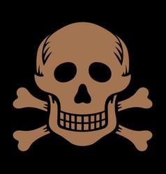 skull with bones in retro vintage style vector image