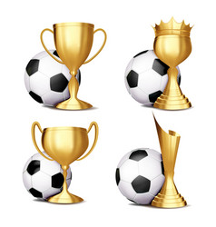 soccer game award set football ball vector image